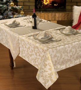 CREAM GLITTER JACQUARD STYLISH CHRISTMAS DINNER PARTY LINEN FLORAL TABLECLOTH RANGE